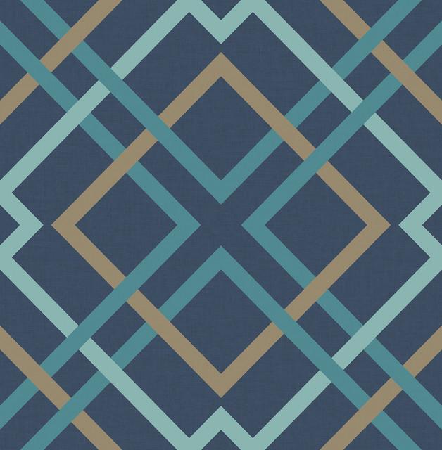 saltire navy lattice wallpaper - contemporary - wallpaper -