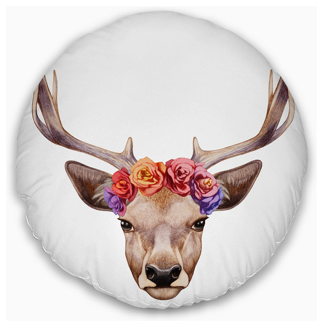 Outstanding Designart Deer Portrait With Floral Head Deer Throw Pillow 16 Round Inzonedesignstudio Interior Chair Design Inzonedesignstudiocom