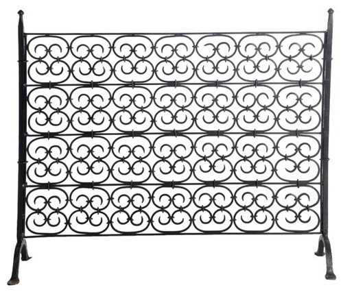 Hand-Forged Gothic Scroll Decorative Screen modern fireplace accessories