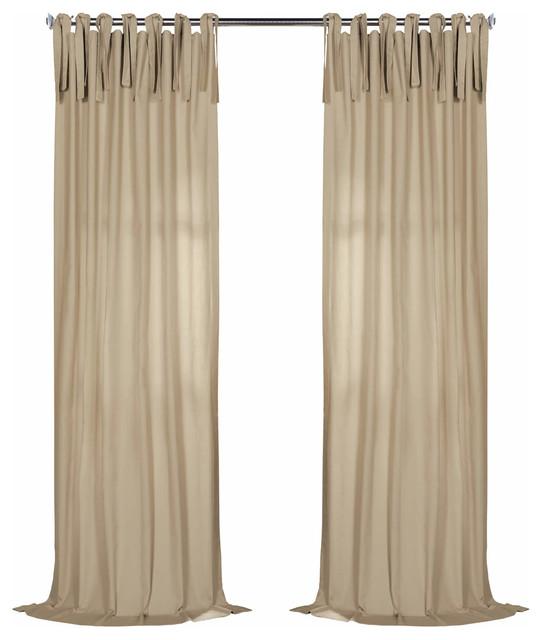 "Solid Cotton Tie-Top Single Panel Curtain, Shaker Beige, 50""x108""."
