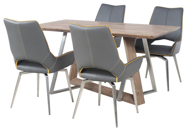 Madison Dining Table With 4 Melbourne Swivel Chairs, Graphite Grey, Small