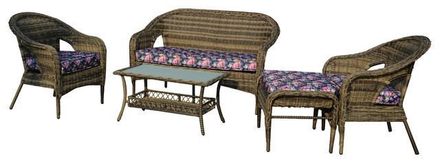St James 5 Piece All Weather Wicker Patio Seating Set With Flower Cushions