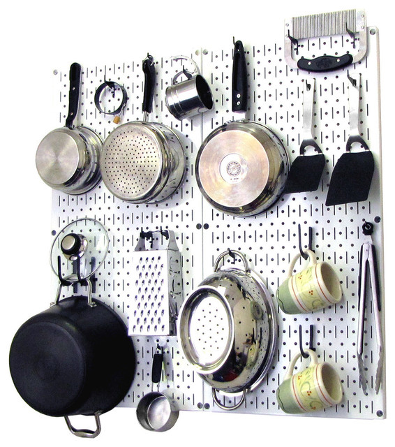 kitchen pegboard organizer pots and pans white pegboard and black accessories