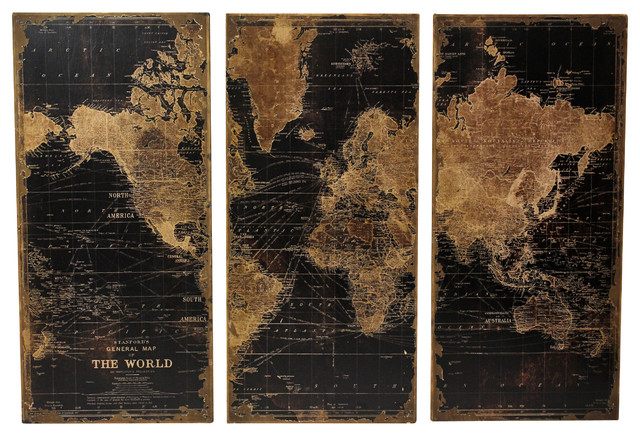 Calima Bird Wall Decor   Set Of 3 : Stanford world map wall panels set of contemporary