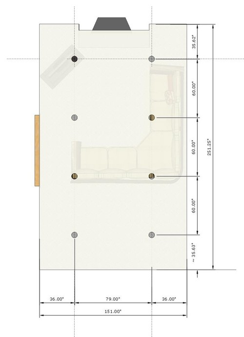 Advice needed on placement of recessed lights in long and narrow famil