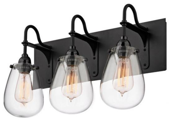 Black Bathroom Lighting: Sonneman Chelsea 3-Light Bathroom Light, Satin Black industrial-bathroom -vanity-,Lighting