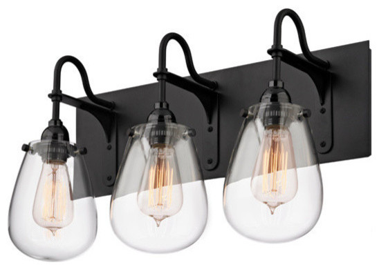 Bathroom Lighting Fixtures Nyc chelsea 3-light bathroom vanity light, satin black - industrial