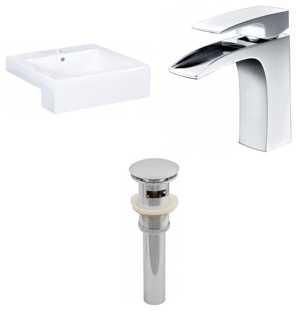 """Semi-Recessed Vessel Set For 1-Hole Center Faucet, White, 20.25""""."""
