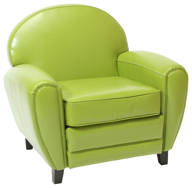 Merveilleux Hayley Apple Green Leather Club Chair