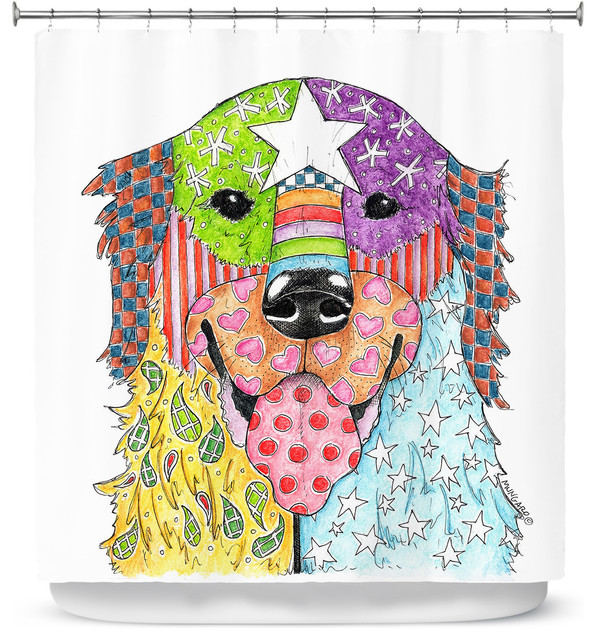 Shower Curtain Unique From Dianoche Designs Golden Retriever Dog White