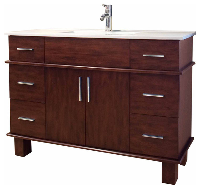 "Transitional Birch Wood-Veneer Vanity Base Only, Antique Cherry, 47""x17""."