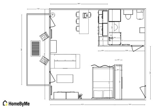 amnagement dun studio de 35m - Faire Croquis Appartement Entree Et Salon