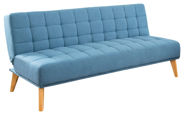 Abbyson Living Avalon Mid Century Tufted Fabric Convertible Sofa Futon, Blue