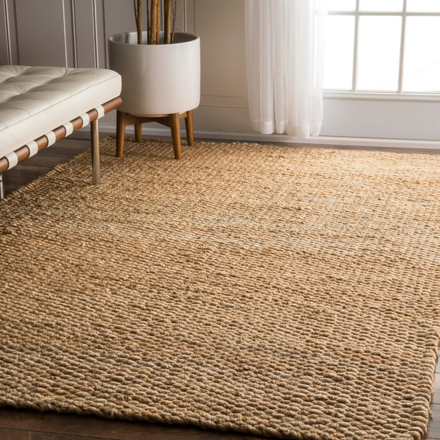 Hand Woven Natural Solid Jute Rug, Natural, 6'x9'