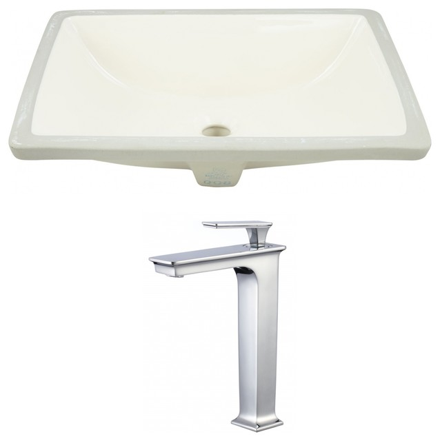 Rectangle Undermount Sink Set Chrome Hardware With Deck