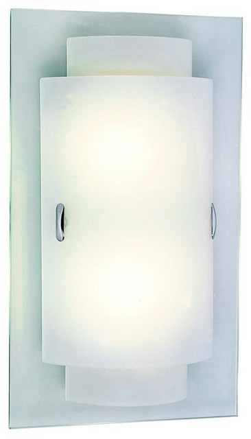 Shop Houzz We Got Lites Two Light Polished Chrome Frosted Glass Wall Light - Wall Sconces