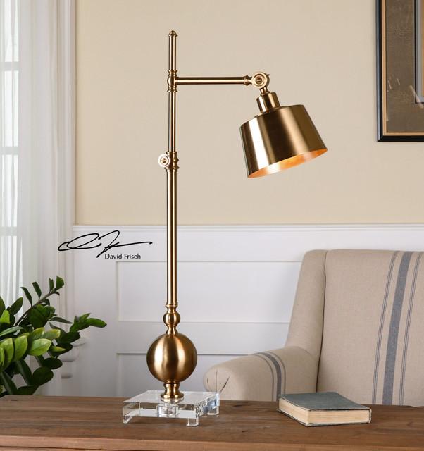 David Frisch Laton Brushed Brass Task Lamp With 1 Light 40w.