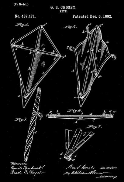 1892 Kite G S Crosby Patent Art Poster Contemporary