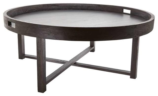Dimond Home Round Black Teak Coffee Table Tray