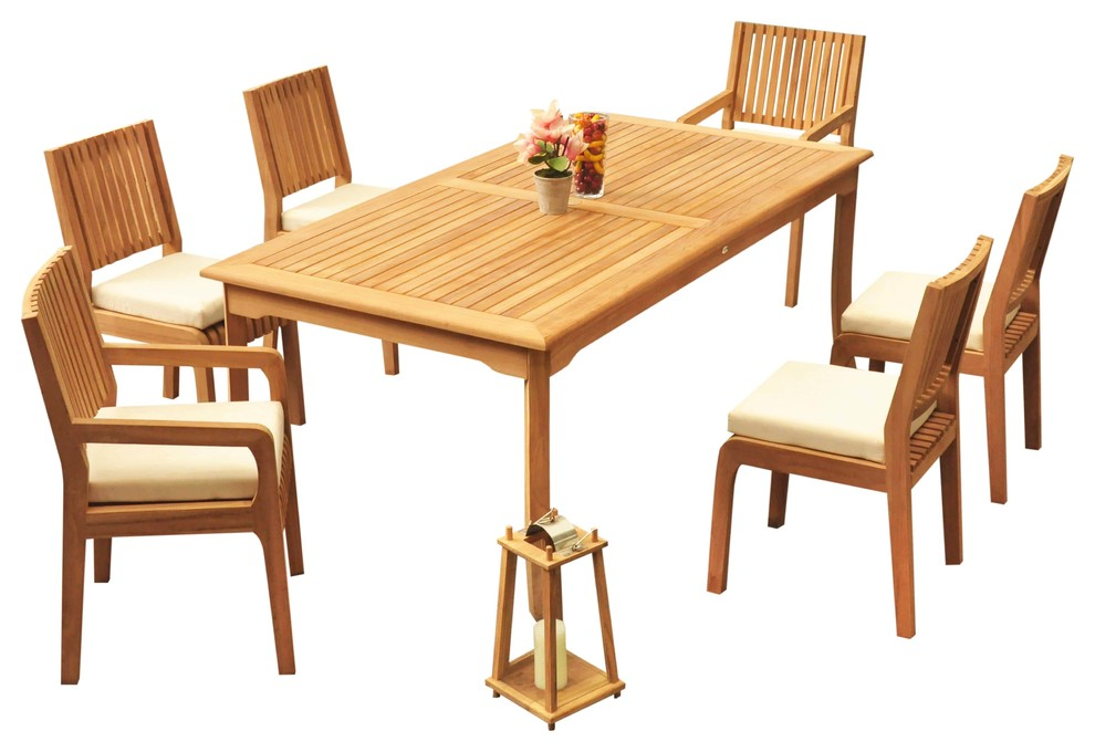 7 Piece Outdoor Patio Teak Dining Set 83 Rectangle Table 6 Maldives Chair Transitional Outdoor Dining Sets By Teak Deals