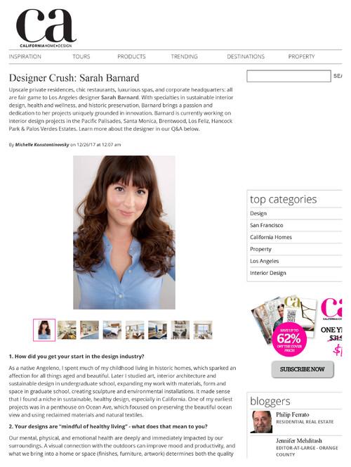 Thank you California Home & Design Magazine for featuring Sarah ...