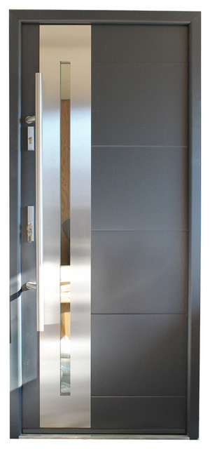 Stainless Steel Modern Exterior Door Gray Finish Contemporary