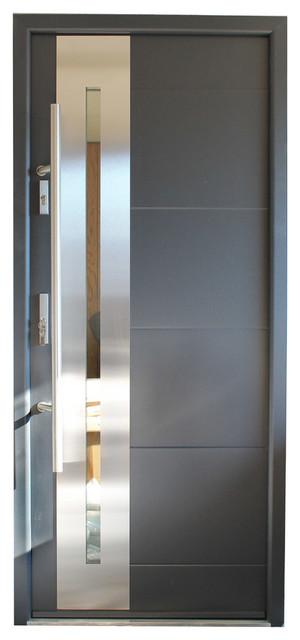 Stainless Steel Modern Exterior Door, Gray Finish, Left Hand Inswing