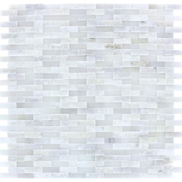 12 X12 Arabeo Carrara Splitface Marble Mosaic Full Sheet Sample