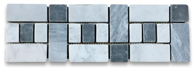 """4""""x12"""" Carrara White Listello Tile Mosaic Border Tumbled."""