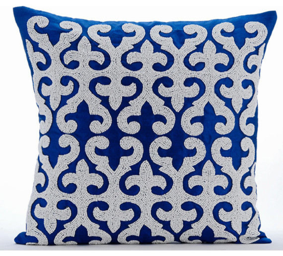 Arty Chevron Gold /& Navy Couch Cushion Covers 24 x 24 Pillow Sham Covers Navy Silk Appliqued with Gold Velvet Decorative Pillows