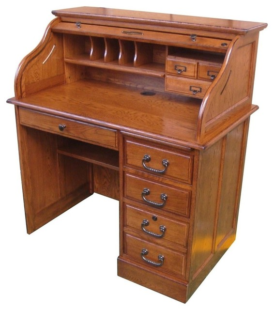 42 Quot Moon Student Roll Top Desk Burnished Walnut Rustic