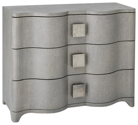 Linen Wrapped MidCentury Gray Accent Chest  Console Drawers Fabric Silver Curved