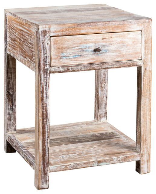 1-Drawer Stripped Teak Side Table.