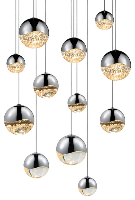 Grapes LED 12-Light Round Canopy Pendant Polished Chrome Assorted Grapes contemporary-  sc 1 st  Houzz & Grapes LED 12-Light Round Canopy Pendant - Contemporary - Pendant ...