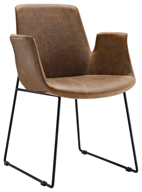 Modern Contemporary Dining Leather Armchair Brown Vinyl