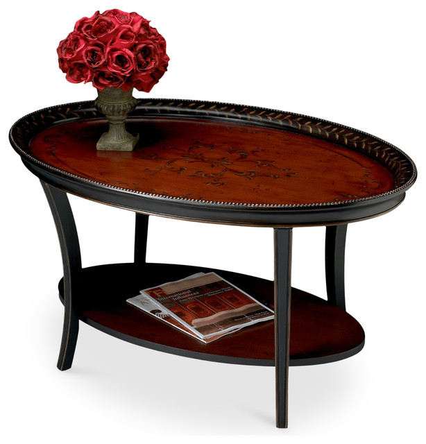 Houzz Black Coffee Table: Hamlet Traditional Red And Black Painted Oval Cocktail