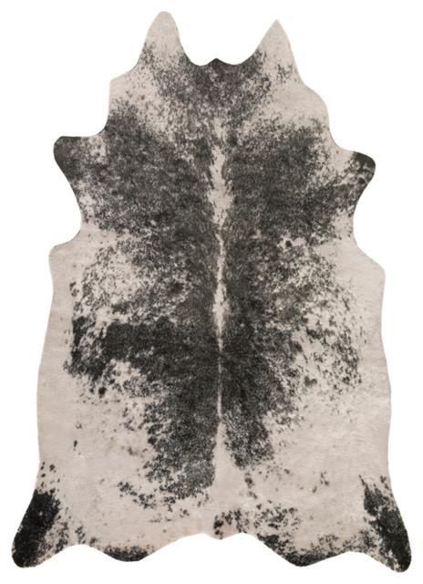 Rusak Animal Ivory, Black Area Rug, 5&x27;x6&x27;6.