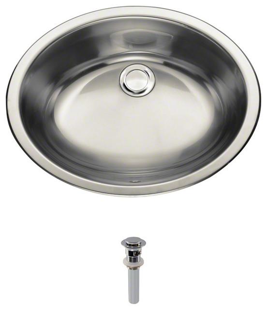 Stainless Steel Vanity Sink, Chrome Pop-Up Drain, Ensemble.