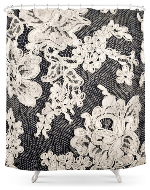 society6 black and white lace photograph of vintage lace shower curtain