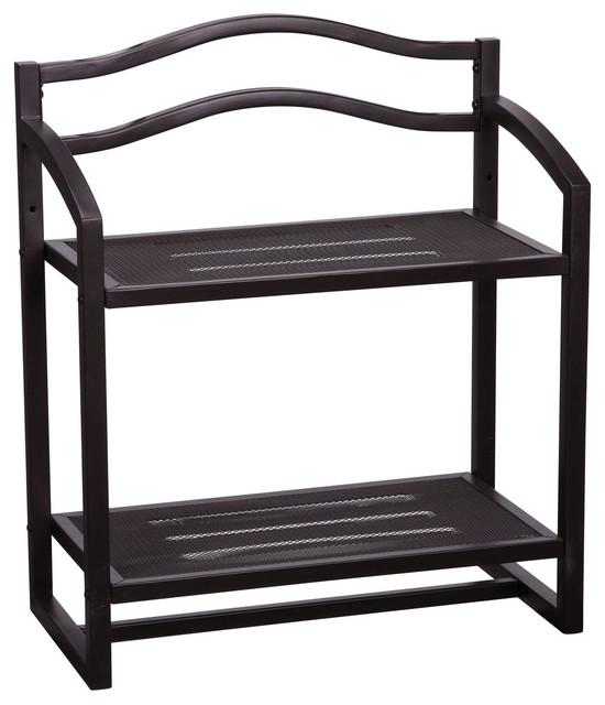 wall mount 2 tier shelf espresso transitional utility. Black Bedroom Furniture Sets. Home Design Ideas