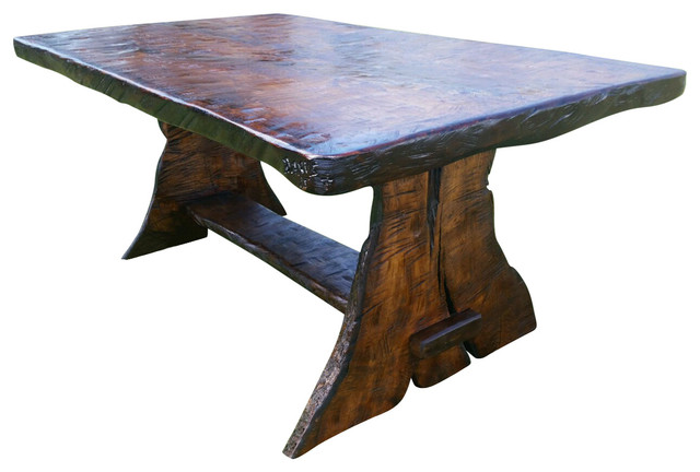 Griffith Rustic Black Walnut Trestle Dining Table Rustic Dining Tables