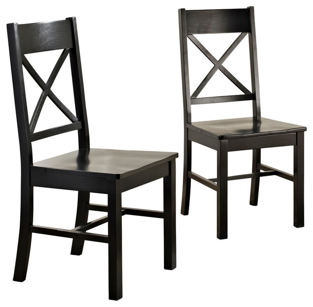 Wood Dining Chairs, Set Of 2, Black.