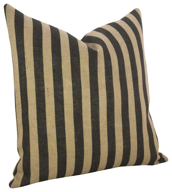 Thin Vertical Stripe Burlap Pillow.
