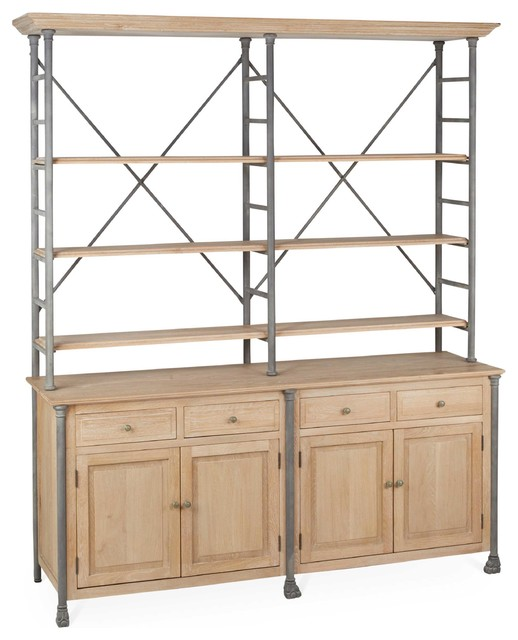 Livre French Country Iron Pine Wood Large Bookcase Traditional Bookcases