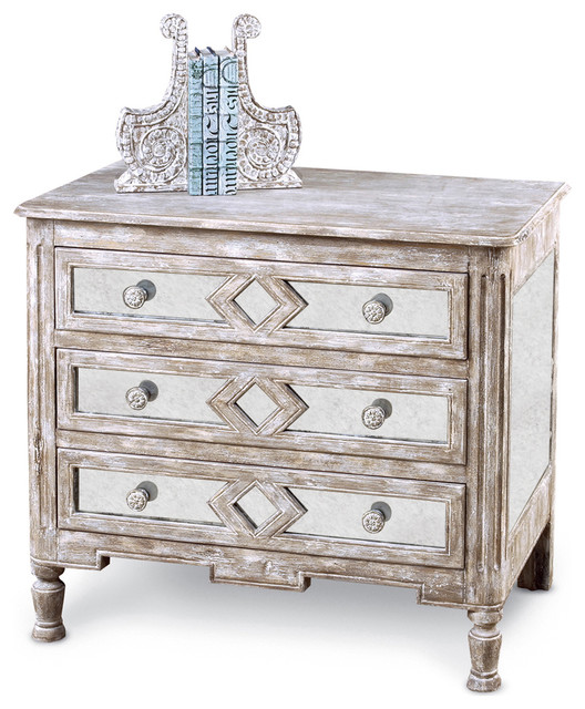 """Calais French Country Diamond Antique Mirror Bedside Chest, 42""""."""