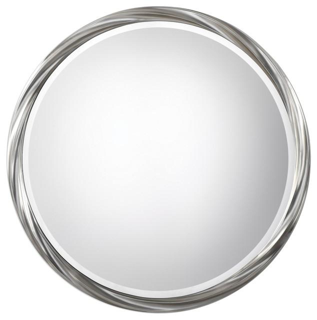 "Orion 36"" Round Mirror Metallic Silver Leaf."