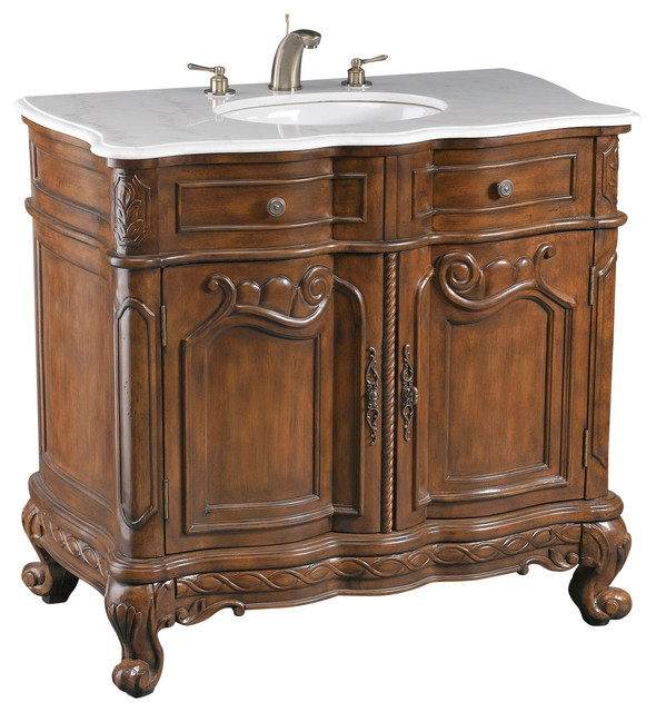 Brown Vanity Sink With White Marble Traditional