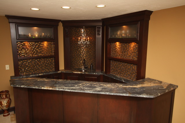 Nice Corner Bar Traditional Basement
