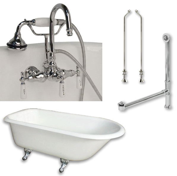 Cast Iron Rolled Rim Tub 55 Telephone Faucet Polished Chrome Package Victorian Bathtubs