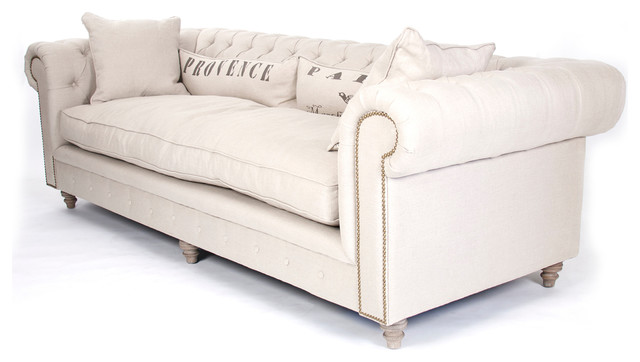 Alaine French Country Burlap Linen Chesterfield Nailhead Sofa Traditional Sofas By Kathy